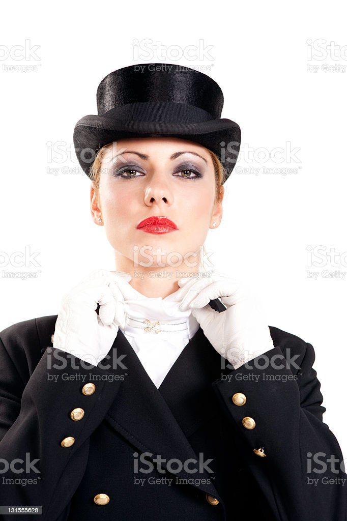 Woman preparing for the dressage competition royalty-free stock photo
