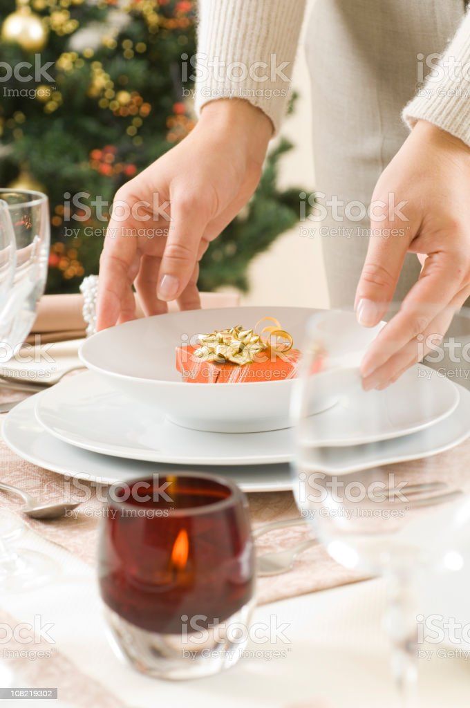 Woman preparing the diner table royalty-free stock photo