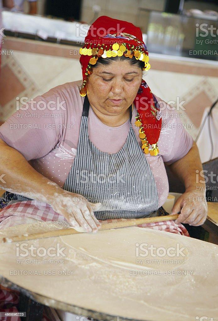 Woman preparing Turkish food. stock photo