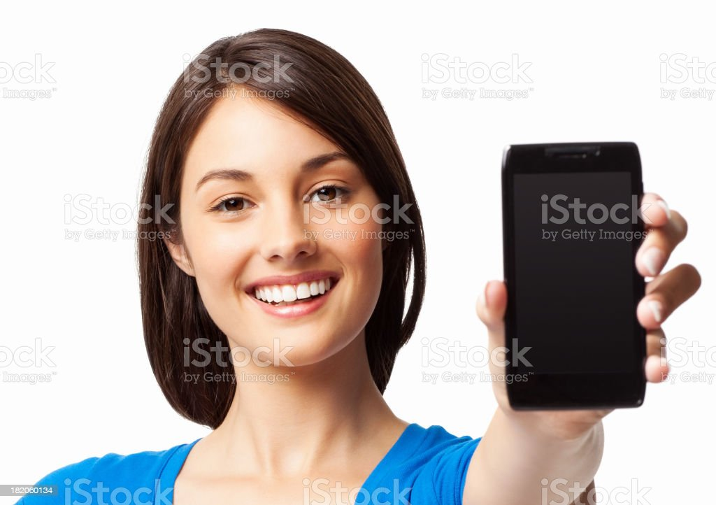 Woman Presenting a Smart Phone - Isolated royalty-free stock photo