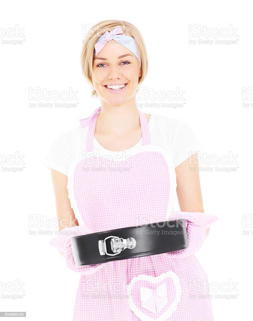 Woman presenting cake stock photo