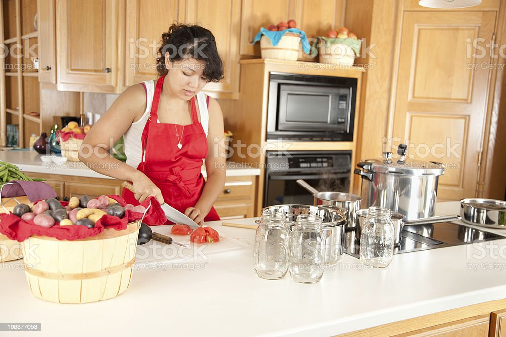 Woman Preserving Fruits & Vegetables stock photo