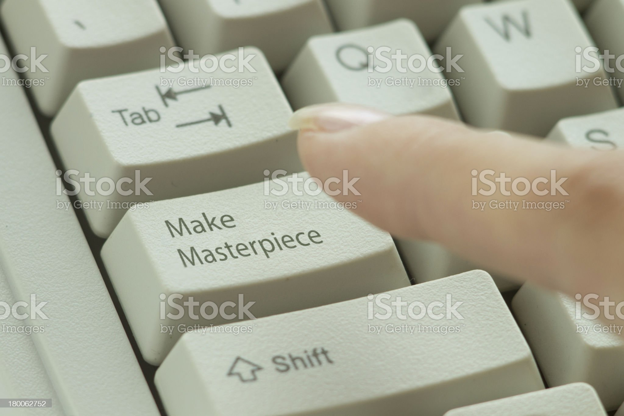 woman press key 'Make Masterpiece' on white keyboard royalty-free stock photo