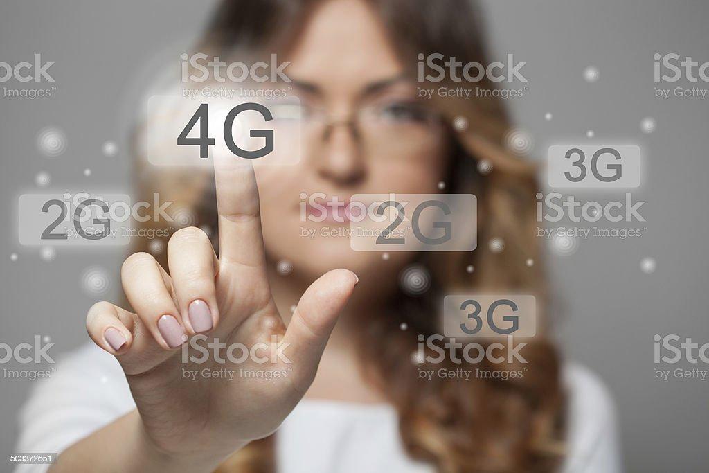 woman pressing 4g touchscreen button stock photo