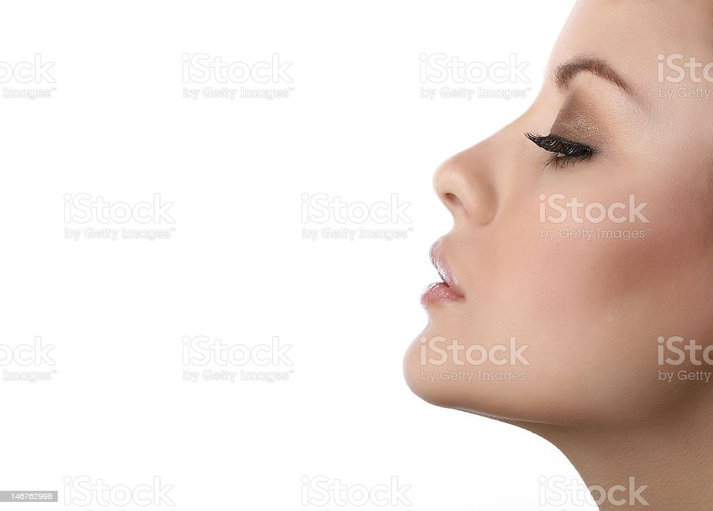 woman profile isolated on white stock photo