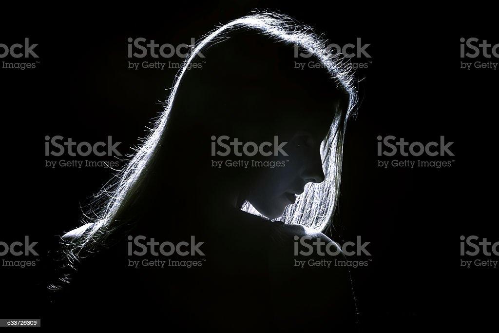 woman profile stock photo