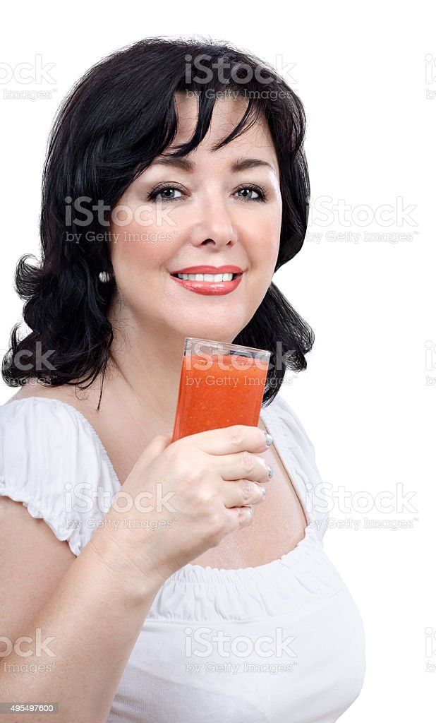 Woman promoting detox drink for skin stock photo