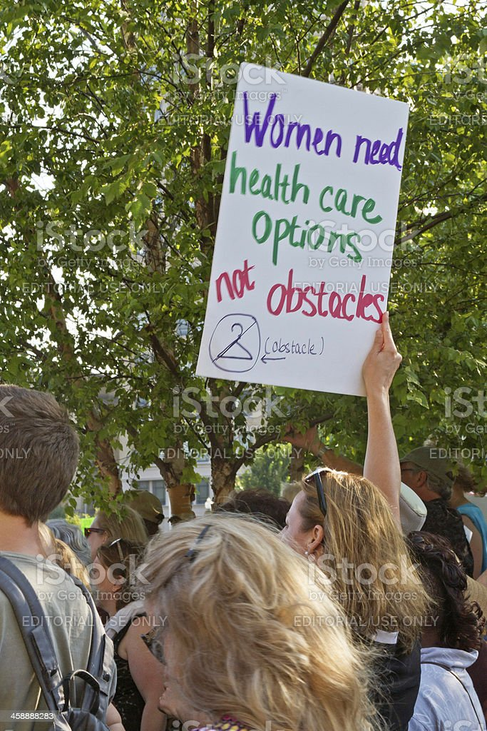 Woman Protest at Moral Monday Rally in Asheville, NC stock photo