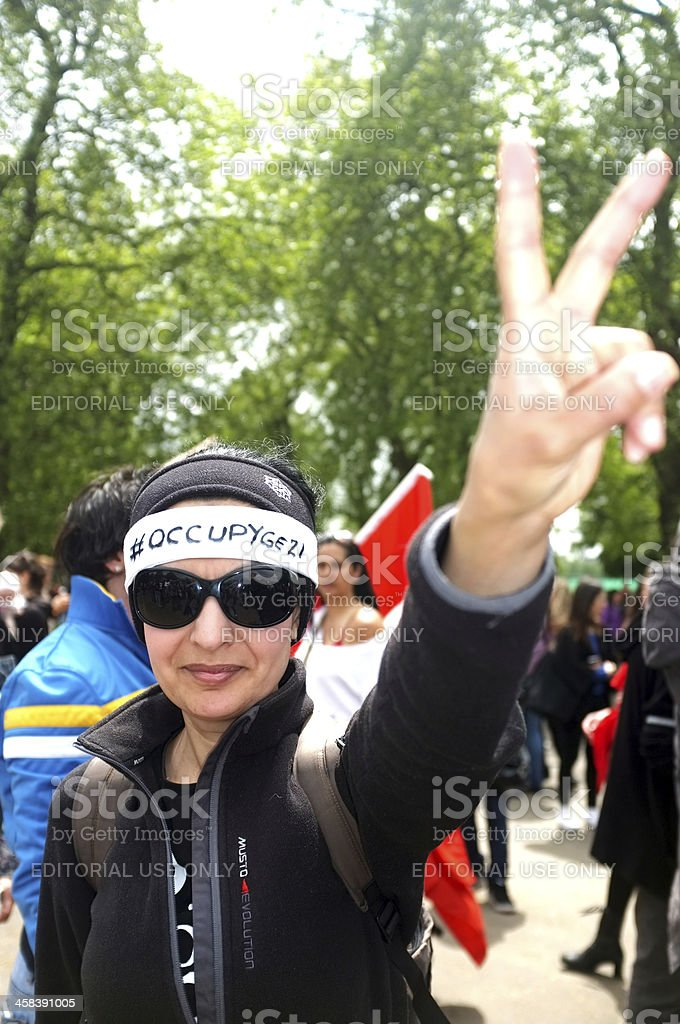 Woman Protester in London royalty-free stock photo