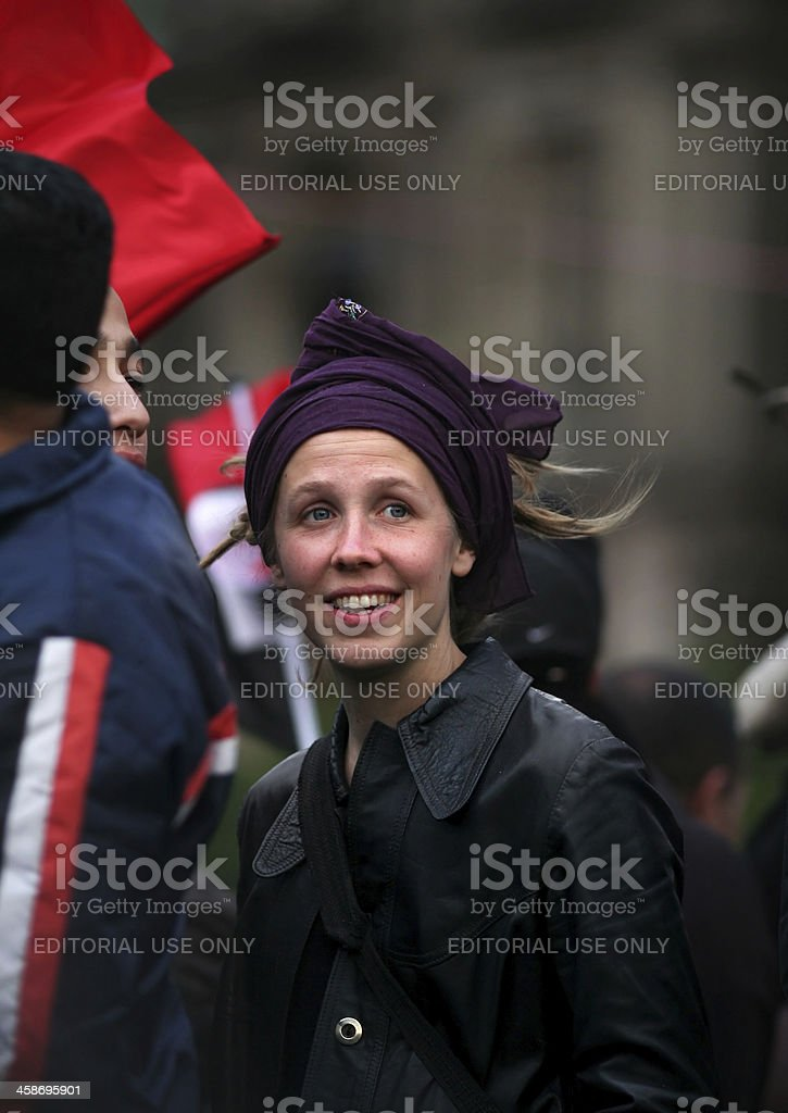 woman protesting during egyptian revolution 2011 stock photo