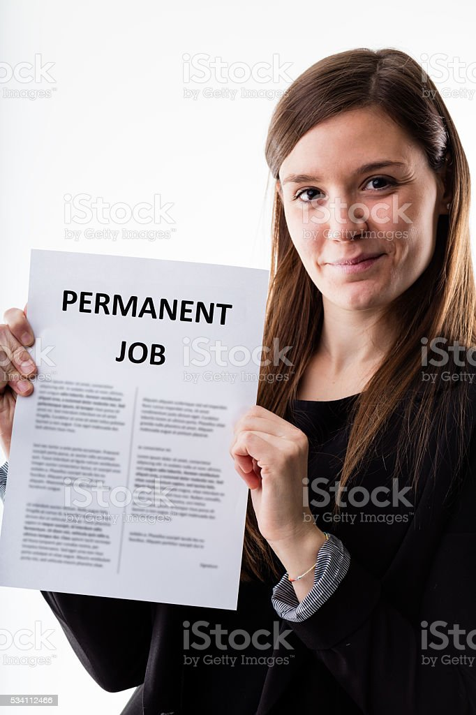woman proudly holding her job contract stock photo