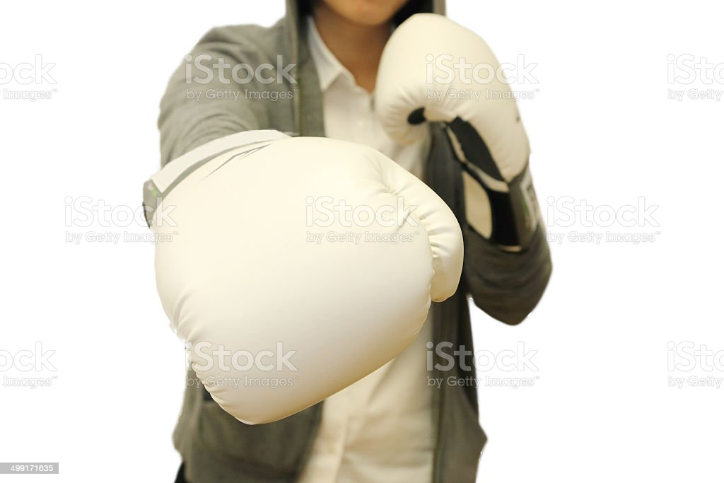 woman punching posture in white background stock photo