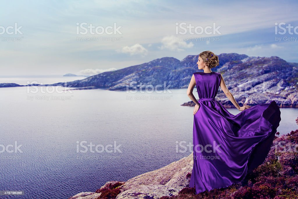 Woman Purple Dress, Waiting Coast Mountains Sea, Gown Waving Flying stock photo