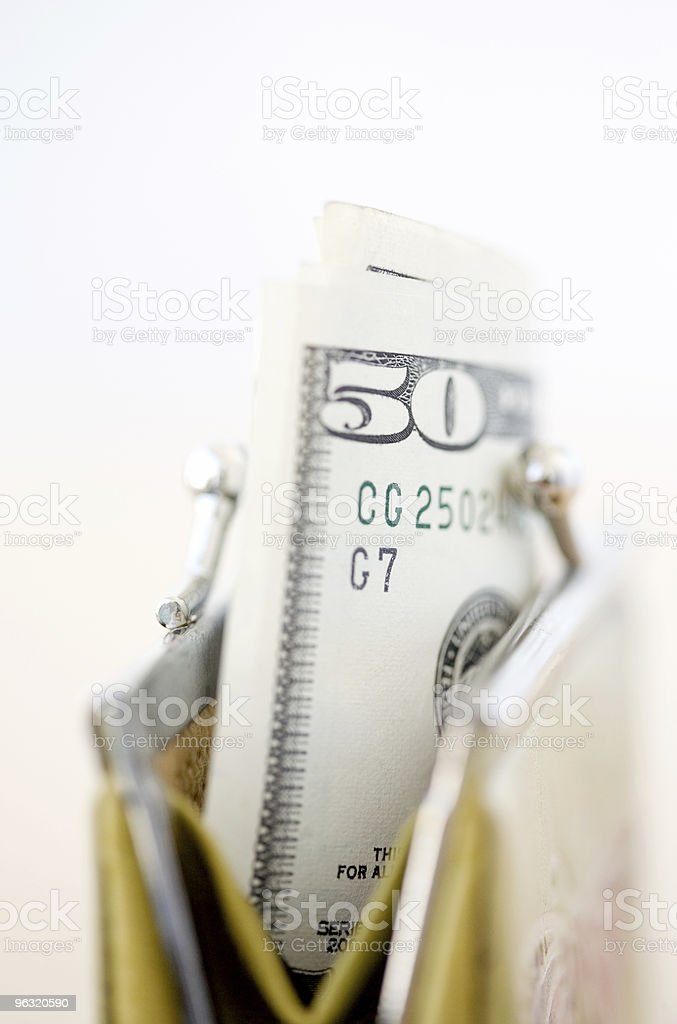 Woman purse with money royalty-free stock photo