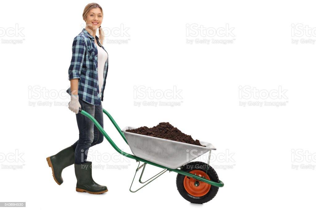 Woman pushing a wheelbarrow with dirt stock photo