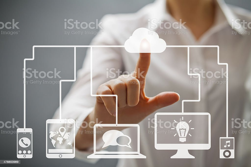 Woman pushing on a cloud button royalty-free stock photo