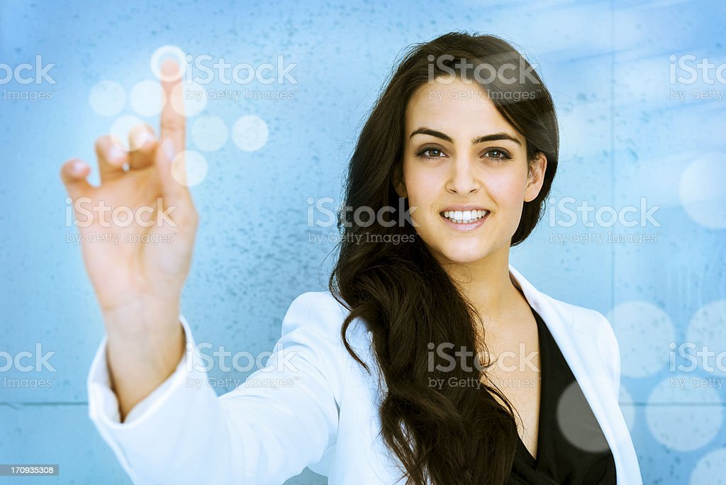 Woman pushing virtual access button royalty-free stock photo