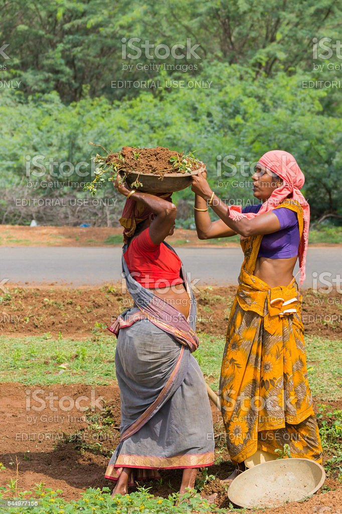 Woman puts basin on head of other woman. stock photo