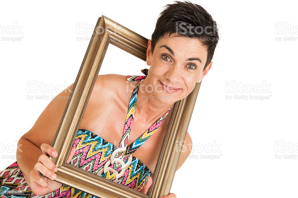 Woman puts her head frame stock photo