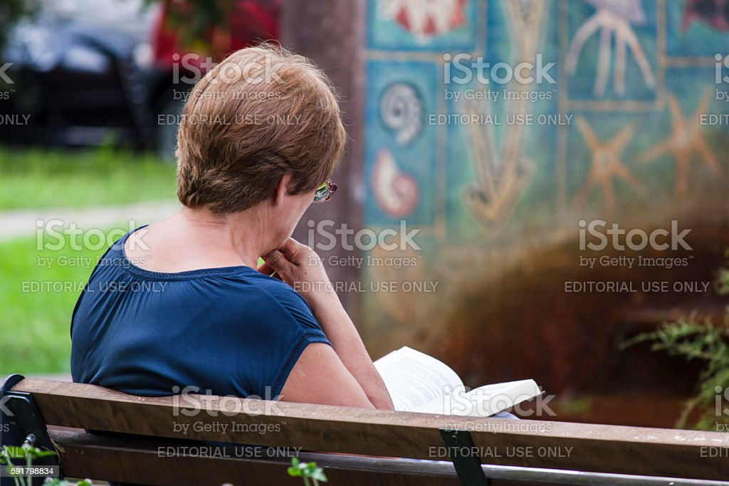 Woman reading a book while sitting on a bench stock photo