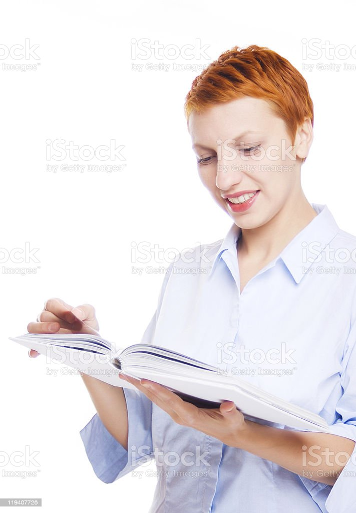 Woman reading book isolated on white stock photo