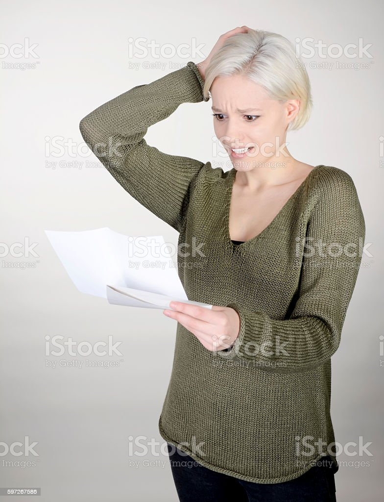 woman reading letter stock photo