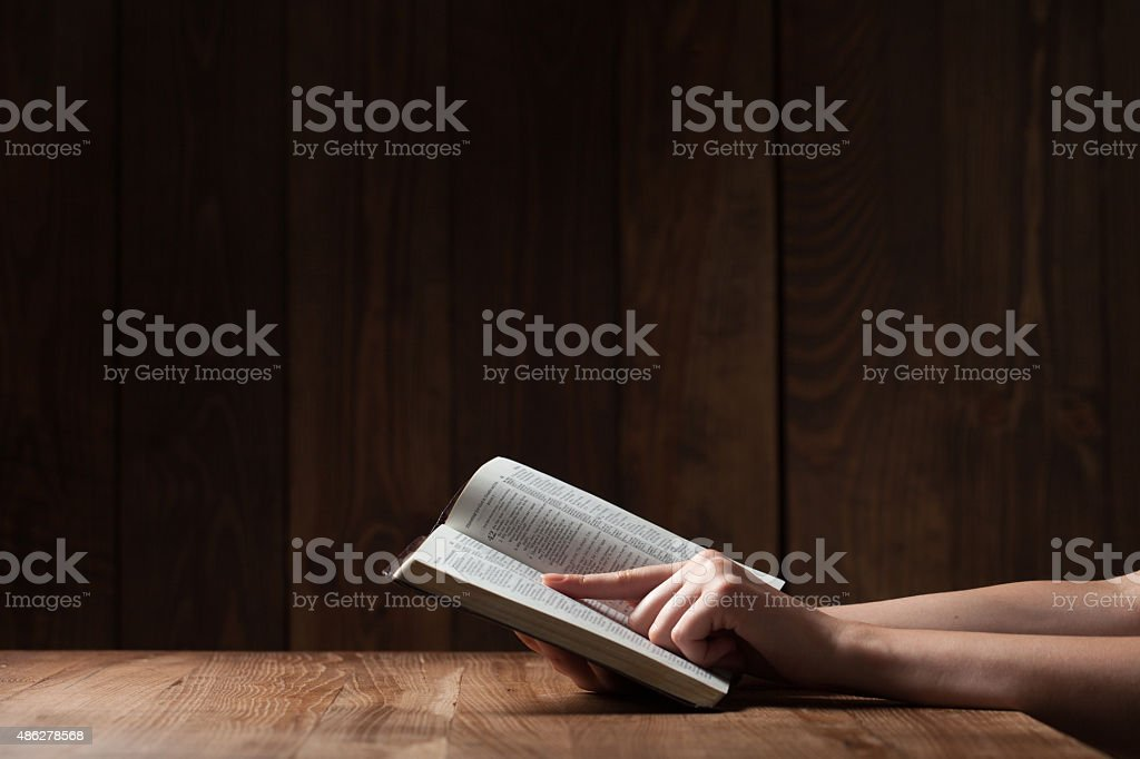 woman reading the bible stock photo