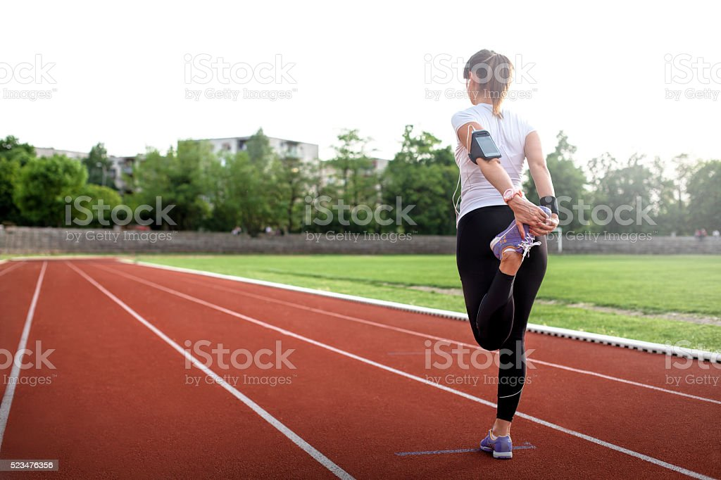 Woman ready for start stock photo