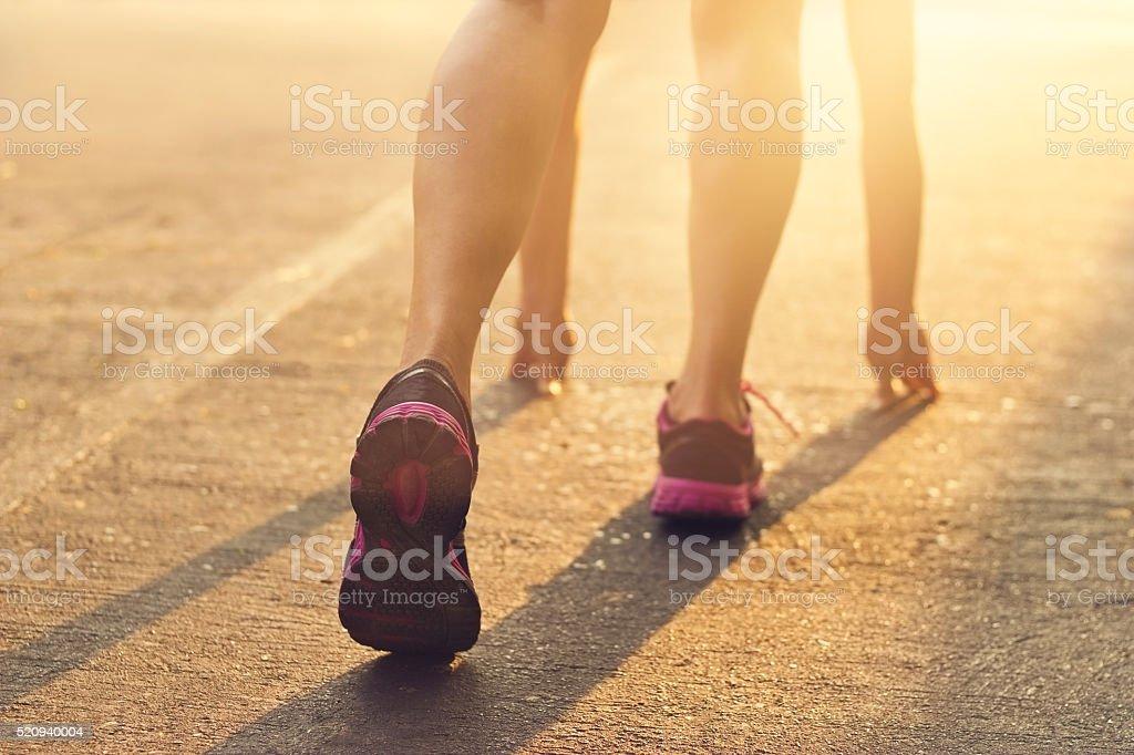 woman ready start running on treadmill in the morning stock photo