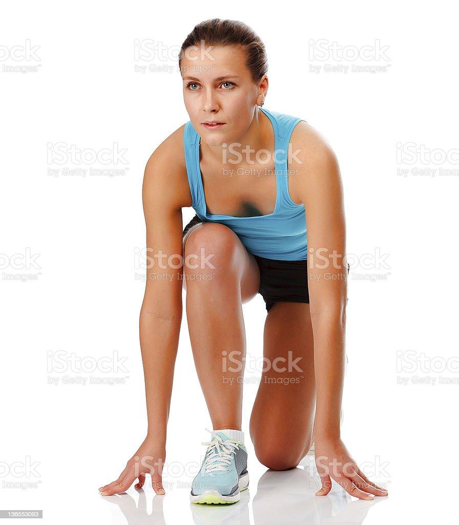 Woman ready to run royalty-free stock photo