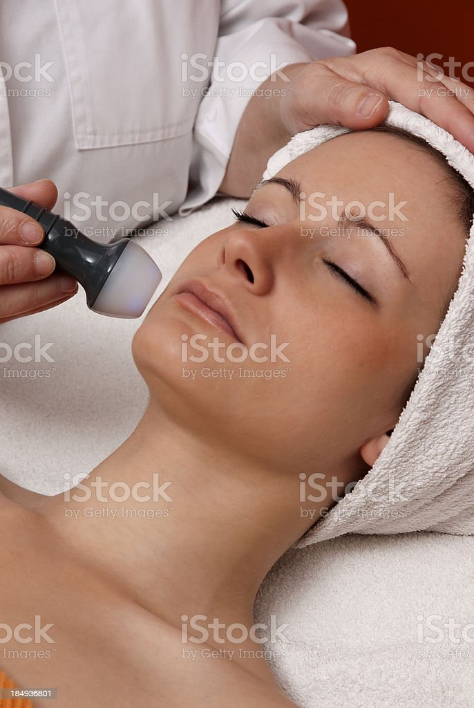 Woman receiving a beauty treatment stock photo