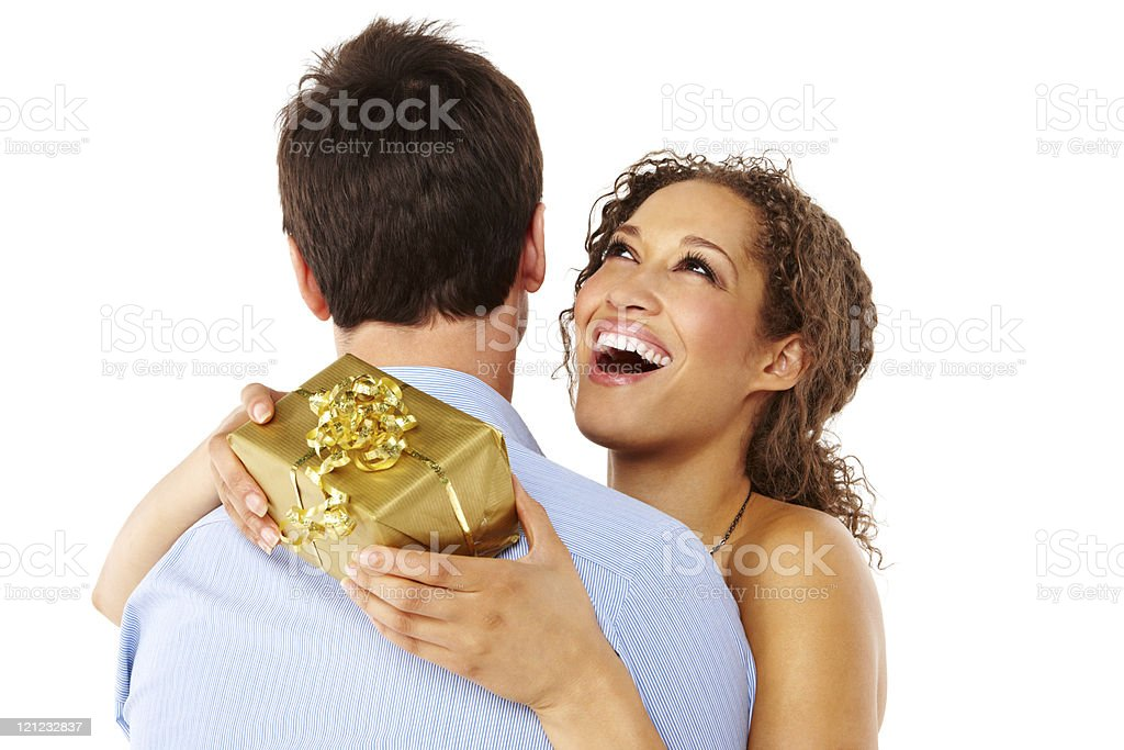 Woman Receiving a Gift From Her Boyfriend - Isolated royalty-free stock photo
