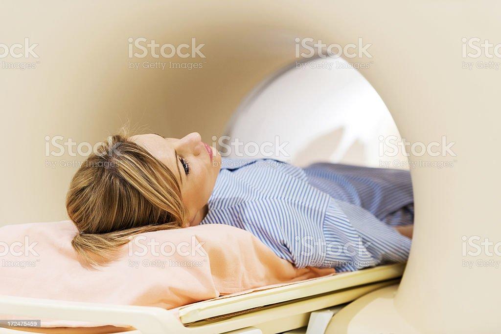 Woman receiving a MRI Scan. royalty-free stock photo