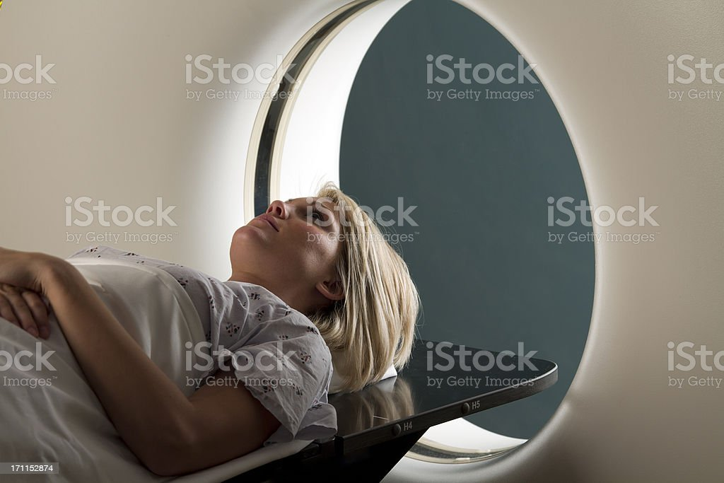 Woman Receiving CAT Scan royalty-free stock photo