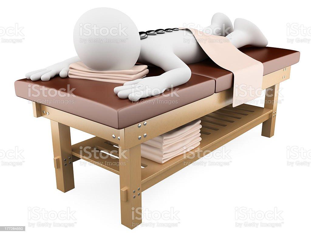 3D woman receiving hot stone massage stock photo