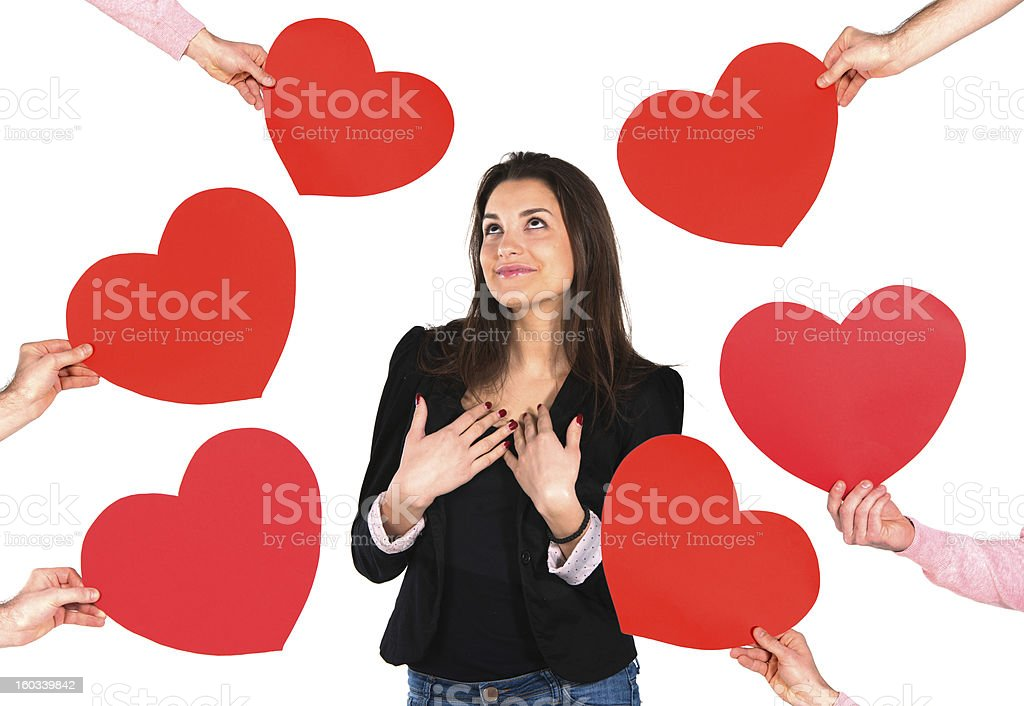 Woman receiving red hearts royalty-free stock photo
