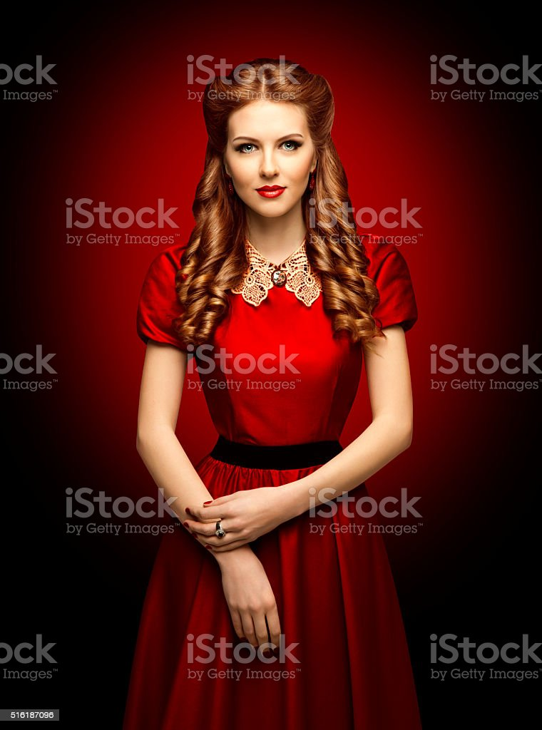 Woman Red Dress, Fashion Model, Retro Clothes Lace Collar stock photo