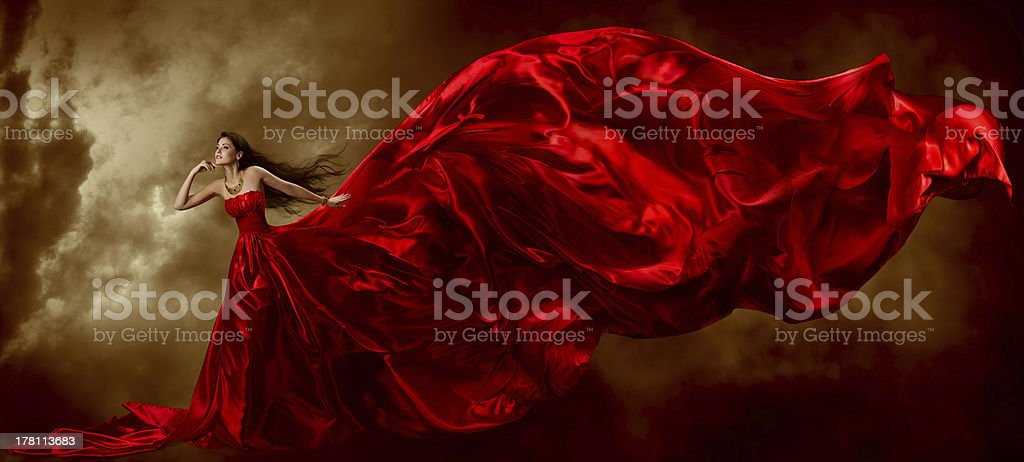 Woman Red Dress, Fashion Model Waving Flying Fabric, Gown Cloth stock photo