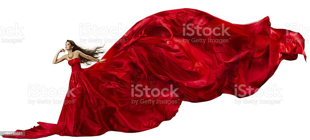 Woman Red Dress, Flying Fabric, Silk Cloth Waving and Fluttering stock photo