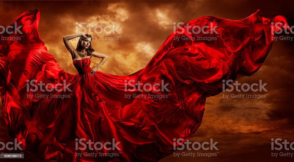 Woman Red Dress Flying Silk Fabric, Fashion Model Dance Wind stock photo