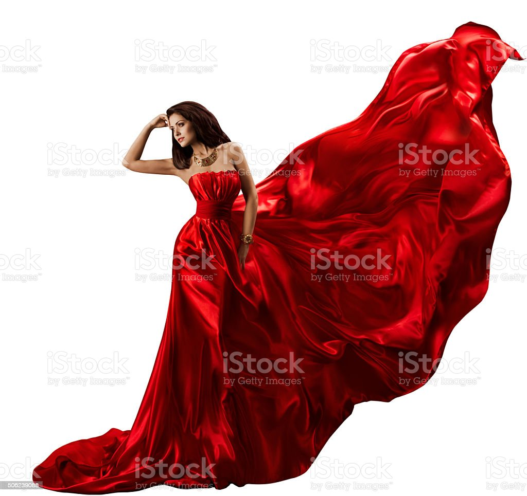 Woman Red Dress, Waving Flying Silk Fabric, Beauty Model, White stock photo