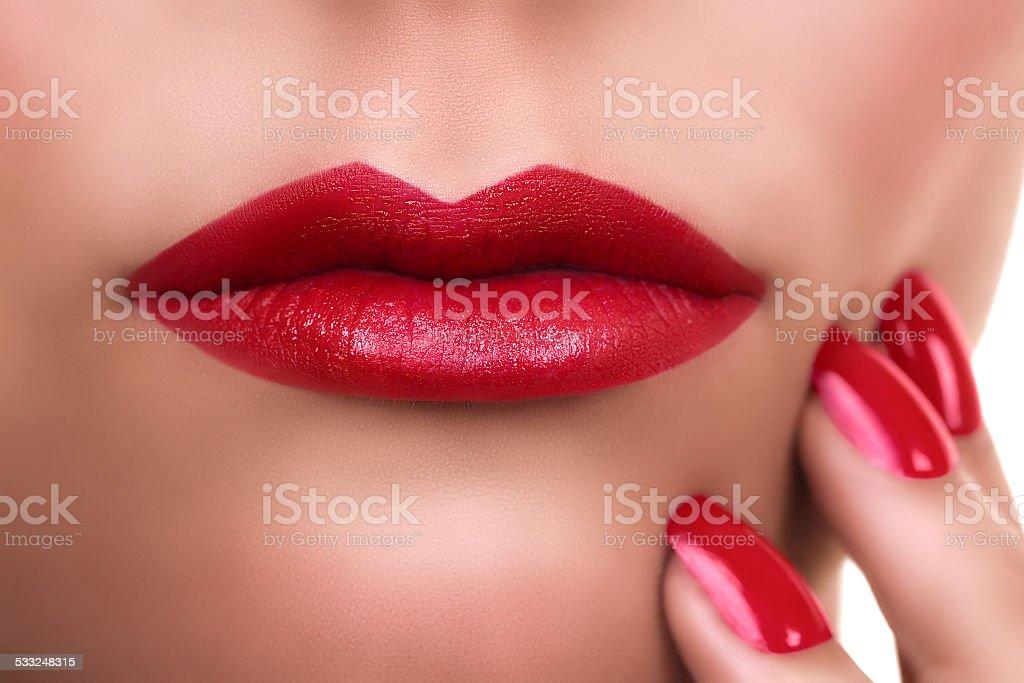 Woman Red Lipstick Manicure stock photo