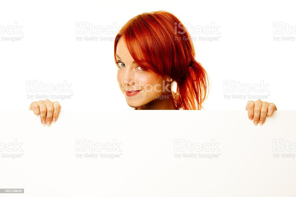 woman redhead over white royalty-free stock photo