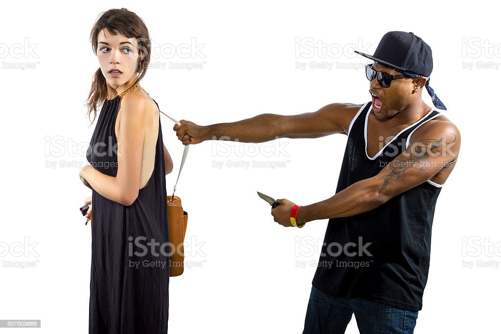 Woman Refusing a Thief stock photo