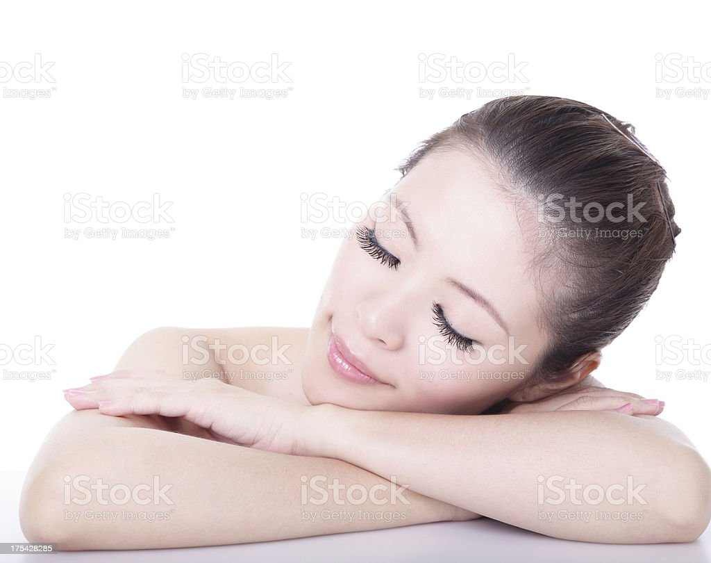 woman relax and close her eyes enjoy spa royalty-free stock photo