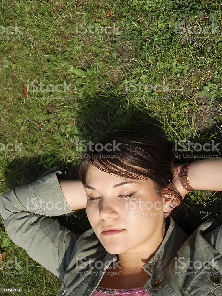 woman relax on the grass #2 royalty-free stock photo