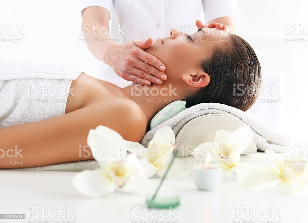 Woman relaxes in a beauty salon. stock photo