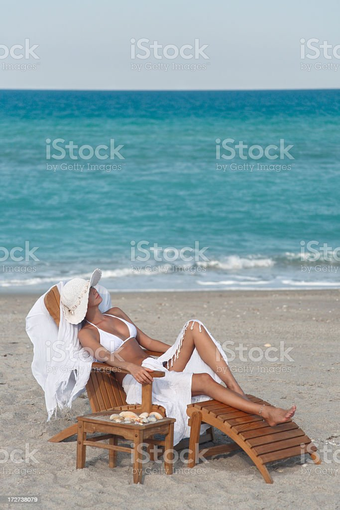 woman relaxing at a beach in Florida royalty-free stock photo