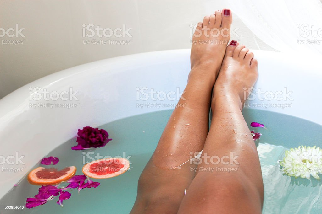Woman relaxing at a spa stock photo