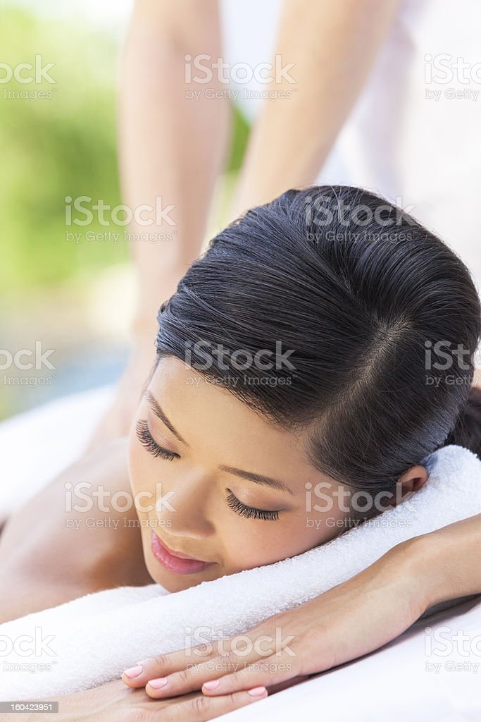 Woman Relaxing At Health Spa Having Massage royalty-free stock photo